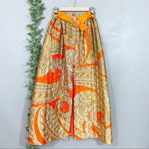 Vintage quilted paisley print 1970 maxi skirt